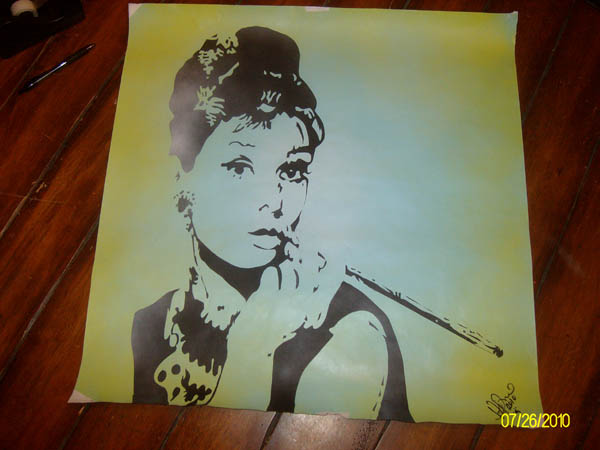 Audrey Hepburn Painting - By Heather Pacheco 2010<BR><BR> <B>YouTube Video : Moon River</B>: Eric Clapton and Jeff Beck, Live, Moon River O2 Arena, London 14th February 2010